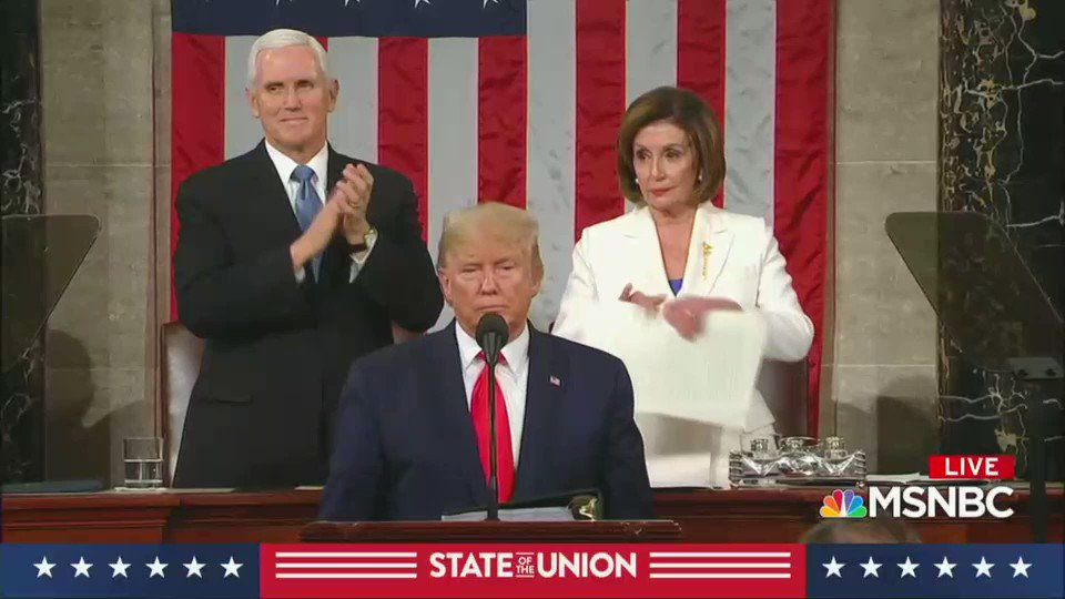 The paper is Donald Trump's corruption and lies, the speaker is Nancy Pelosi