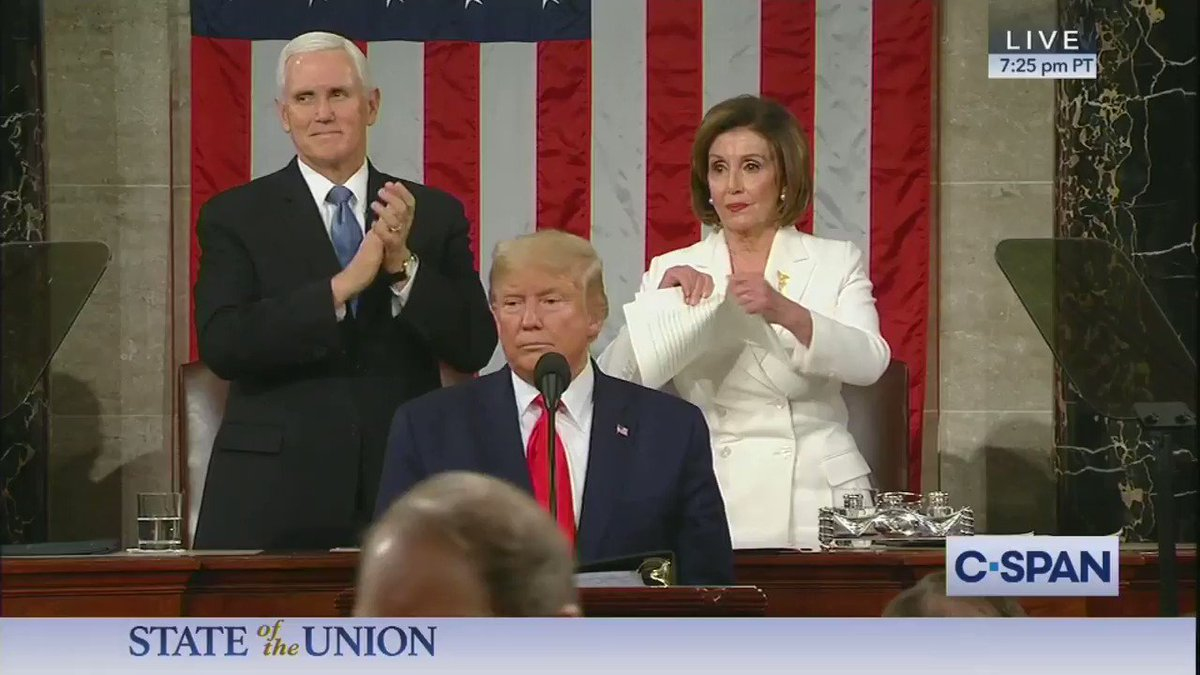 Nancy Pelosi can tear up @POTUS speech but not President Trump's record she knows she can't beat. Disrespectful.