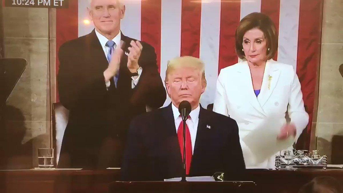 Here is the moment Speaker Pelosi tore up Donald Trump's SOTU speech.