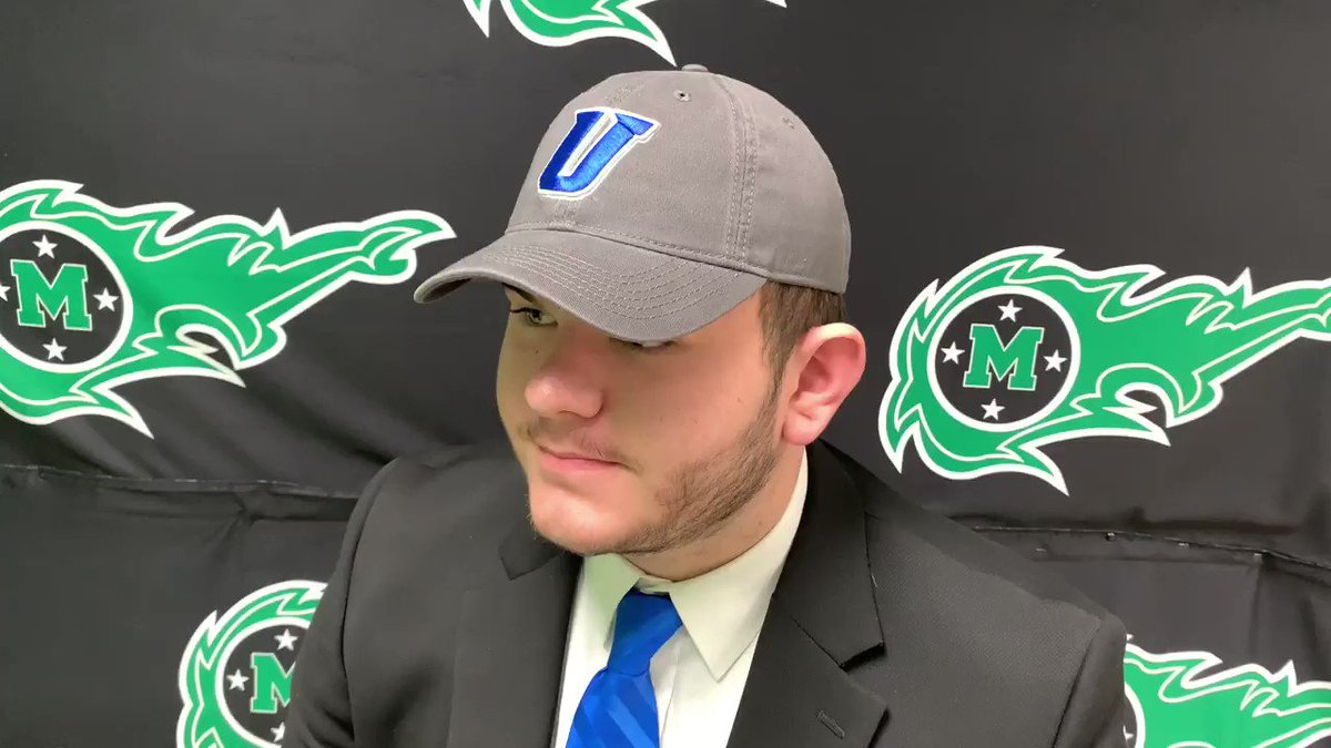 .@MasonCometsFB offensive lineman Jackson Norman talks with digital reporter Mallory Hill about his decision to continue his academic and athletic career at @UrbanaU_Sports