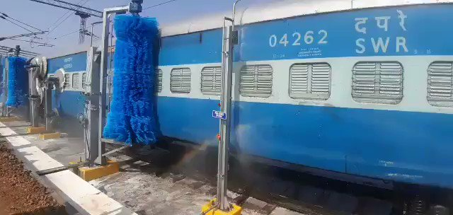 Take a look at Karnataka's first Automatic Railway Coach Washing Plant installed at Bengaluru City Railway Station.Reducing  water, cost, time & manpower required, the plant paves the way for clean coaches for passengers in an efficient & eco-friendly manner.