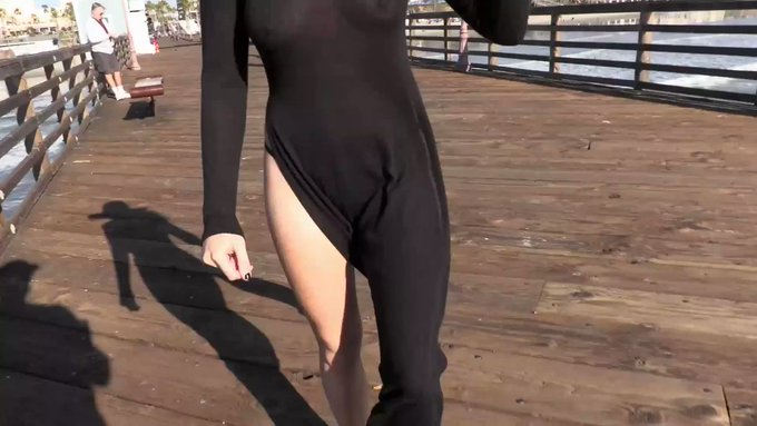 I took my sexy sheer high slit dress out to the the beach! Here's a peek of my crotchless panties underneath