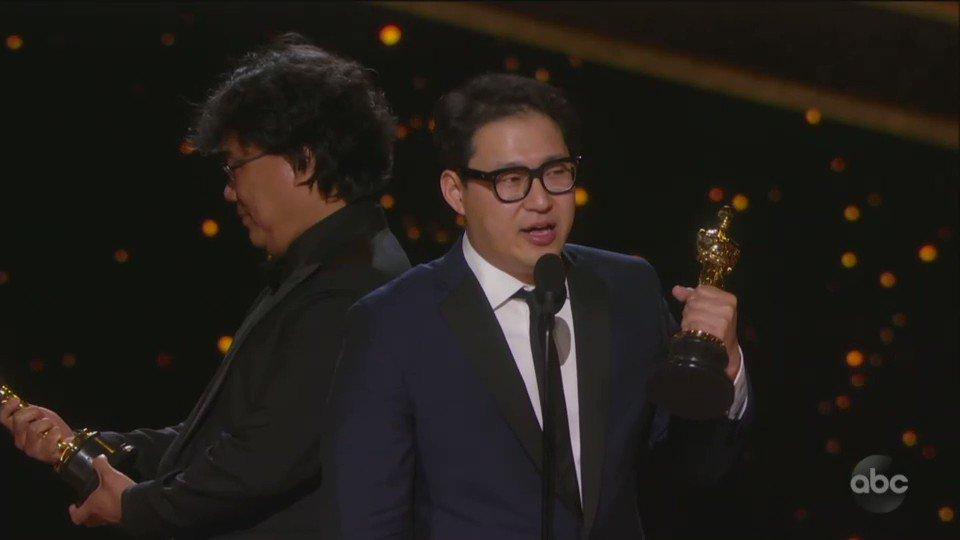 Bong Joon-Ho. The best moment of the #oscars. #Oscars2020