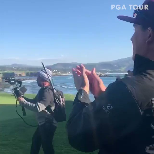 Former college roommate and fellow TOUR player @Joel_Dahmen was waiting to congratulate @NTaylorGolf59 on his win at @ATTProAm. 🤝