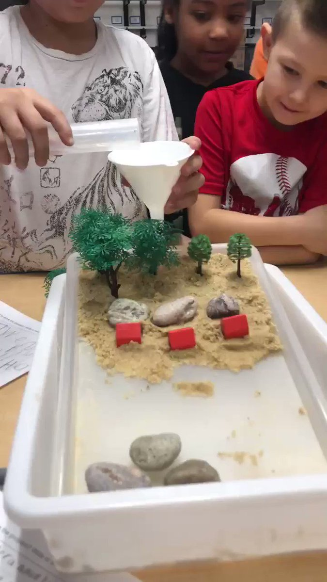 3rd grade engineers stopping erosion from damaging the houses! They did great! #PLTW #Hpsdtigers