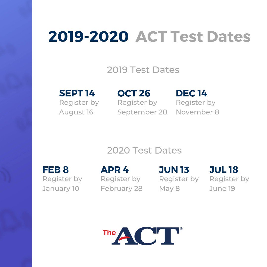 Image for the Tweet beginning: The #ACT will be offered