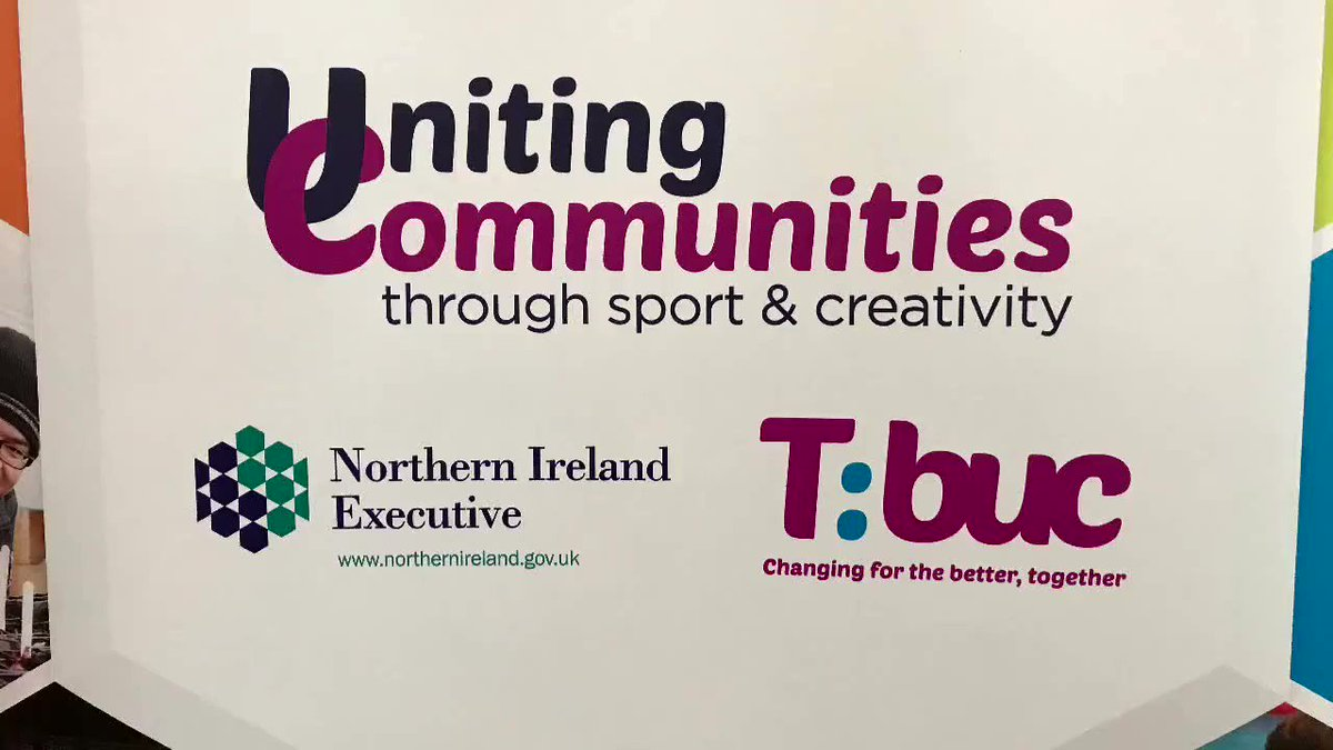 Building a united community: Junior Ministers @gordonlyons1 and @DeclanKearneySF learn about the important role sport and creative activities play in bringing young people from different backgrounds together. @TBUCCamps @NI_CRC ⬇