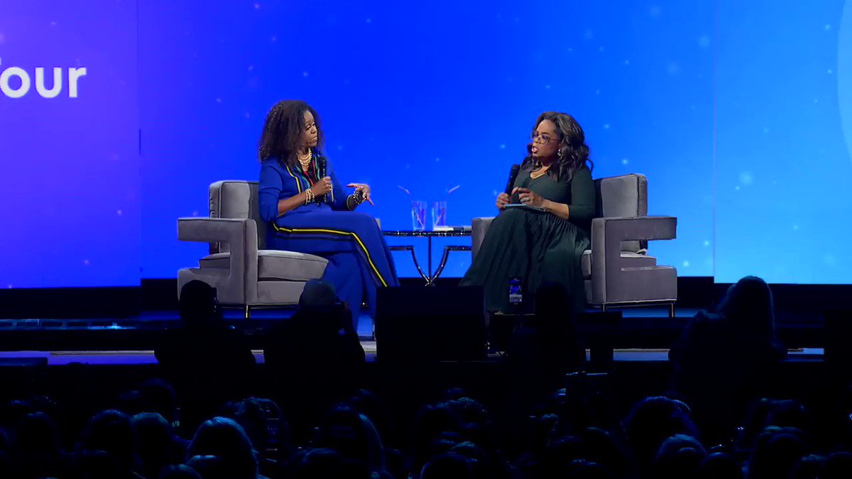 My conversation with @michelleobama showed me it is an extraordinary time to be a strong, confident, assured, and above all else, well woman. Thank you for filling us up. Watch the entire interview here: https://www.facebook.com/oprahwinfrey/videos/3016320348412548/… #Oprahs2020VisionTour