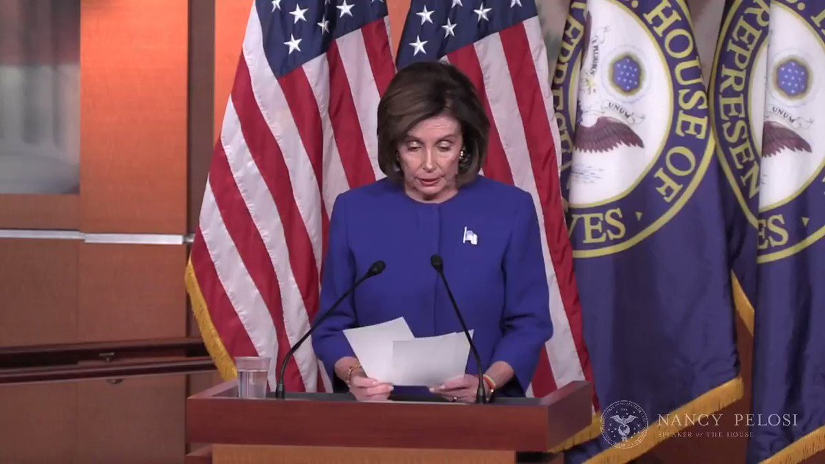 "BREAKING: Speaker Pelosi says Trump's interference with DoJ, AG Barr's interference in the Roger Stone case and the firing of Lt Col Vindman ""must all be investigated."""