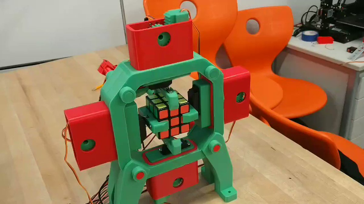 Not all my students build competition robots. Some take a more whimsical path. This is a fully 3D printed Rubik's Cube solving robot currently under development. It can manipulate the cube, but they're still working on the color scanning. #EagleboticsRising #NBPSteam #NBPSEagles