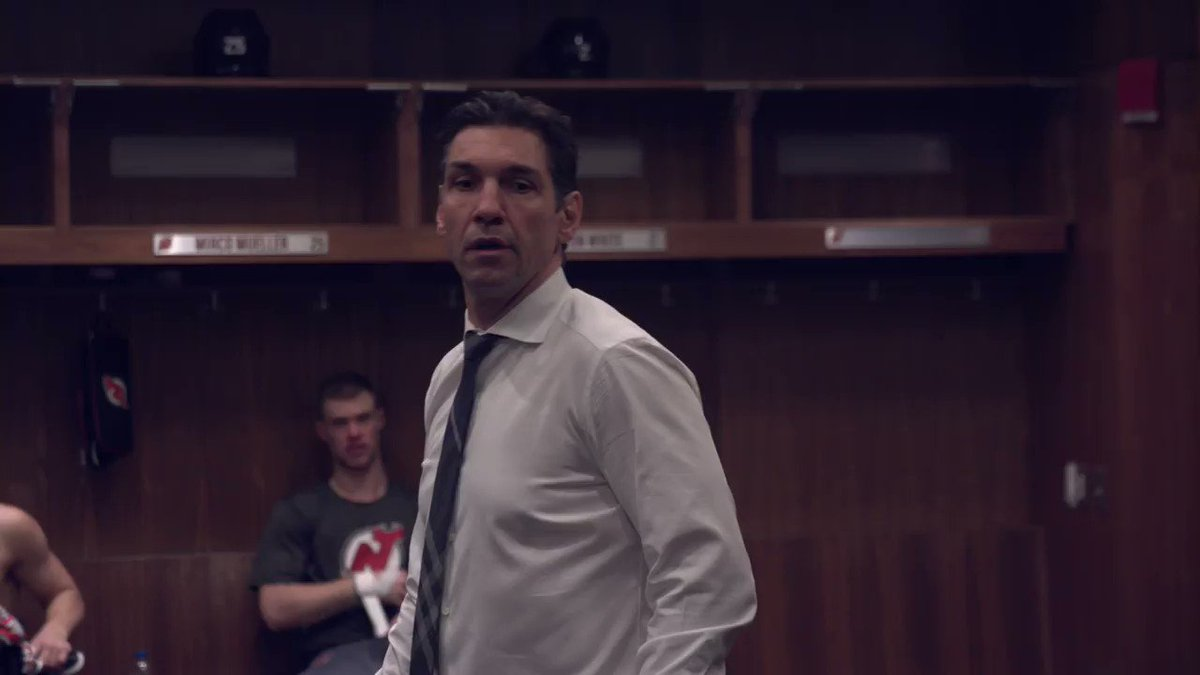 Take a behind the scenes look at Coach Nasreddine talking to the team as well as Wayne Simmonds and Mackenzie Blackwood addressing the team.  #WeAreTheOnes | #NJDevils