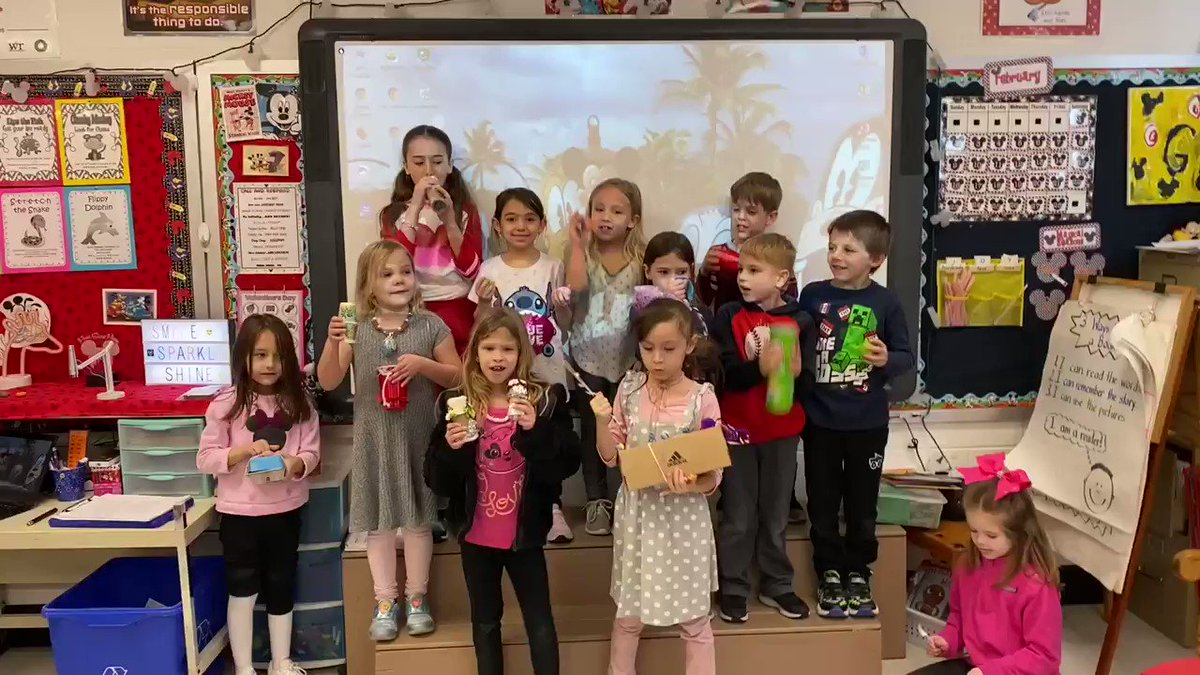 Ms. Govero's class made instruments during STEM and played them for Mrs. Hueter