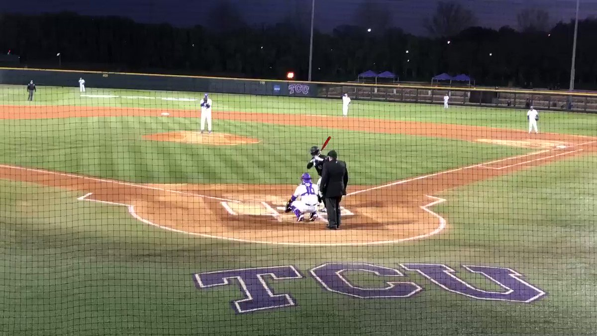 And with that pitch by Johnny Ray, the 2020 @TCU_Baseball season is underway!