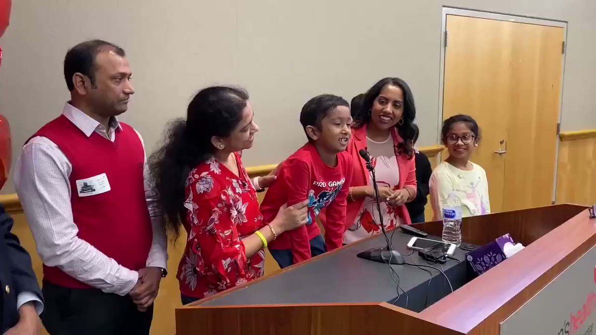 Bone marrow recipient Akshaj Nagilla met his donor, Dr. Prasanthi Ganesa, for the first time today, Valentine's Day, at Children's Medical Center Dallas.For the heart warming story by @davetarrantnews , read here.   #NationalDonorDay