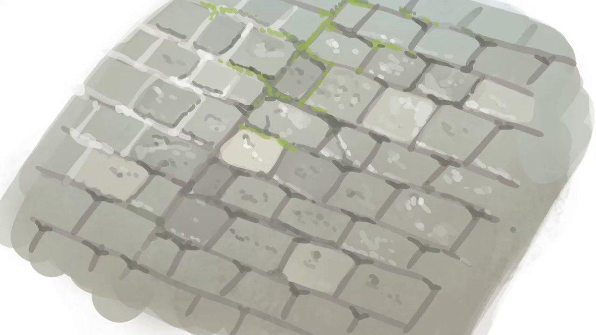 息抜きに10分だけ石畳を描いてみた動画(8倍速)