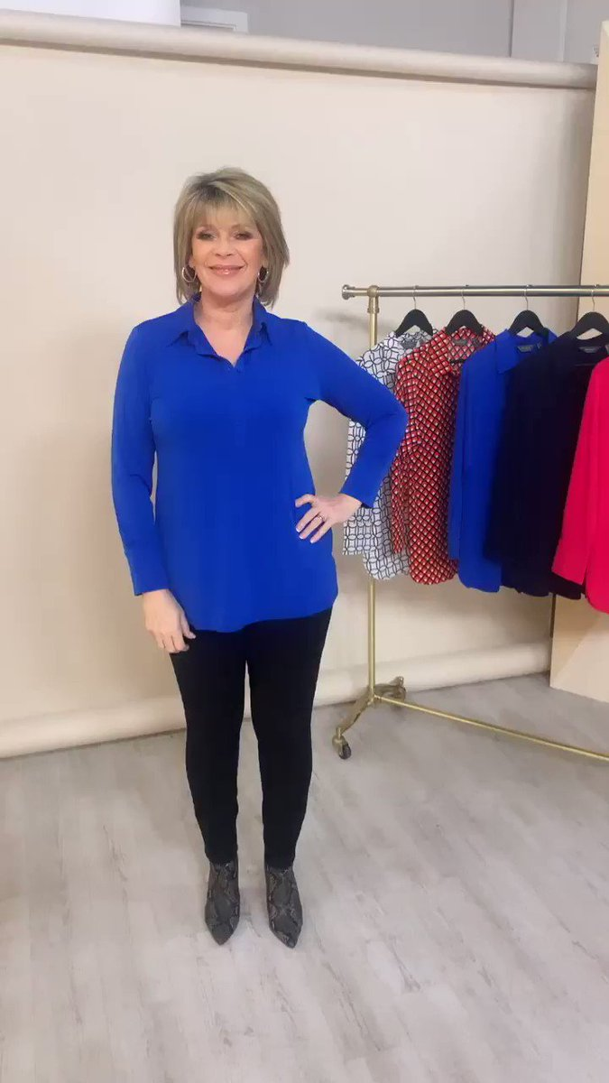 Continuing from yesterday's TSV, I will be wearing my Cobalt Jersey Shirt on @qvc at 11am! You can buy it now at the link in my bio - happy shopping!💙
