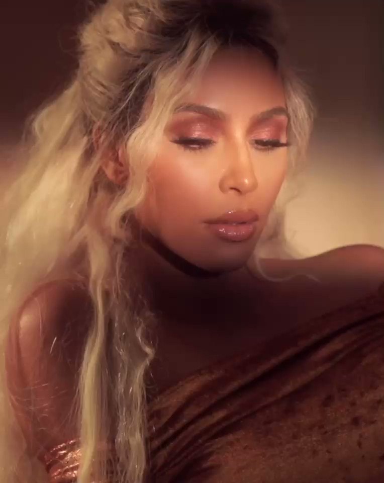 Get @KimKardashian s warm glam look wearing the Sepia Sunset Eyeshadow Palette, Classic Mattes Blush Palette and Nude 2 Crème Lipstick paired topped with Gold Sparkle Gloss. Shop at  http://KKWBEAUTY.COM  !