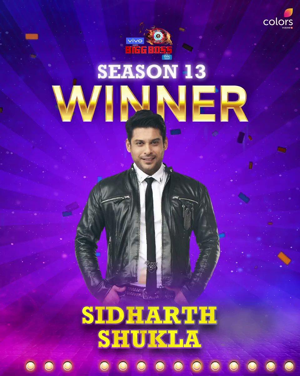 #BiggBoss13 ke tedhe safar ko poora karke aaj aap sabke handsome hunk aur #BB13 ke hero @sidharth_shukla has won season 13 of #BiggBoss! Congratulations! @vivo_india @beingsalmankhan #BiggBoss13Finale #BB13Finale #BB13GrandFinale #SalmanKhan