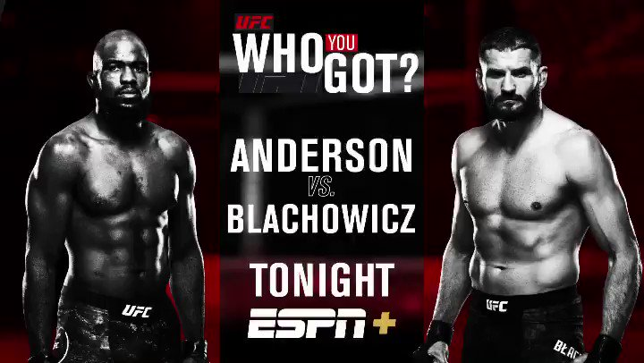 Who u got tonight: Anderson or Blachowicz?   #UFCRioRancho is LIVE TONIGHT at 8pm ET on @espn+