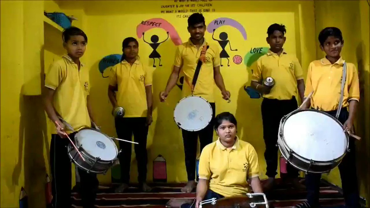 Our first generation learners in slums of India, playing 'dhol' to recreate #ChampetaChallenge tune.   Since a young age they have been playing it with their fathers in marriage processions. Here's the tune in our traditional style. @shakira sending across love from our children!