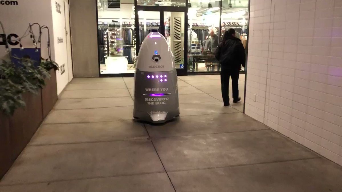 Hey @barbaracrampton @Kellimaroney — ACTUAL SECURITY ROBOTS spotted in a downtown LA mall!  One malfunction away from Killbots, I'm sure! #ChoppingMall2020