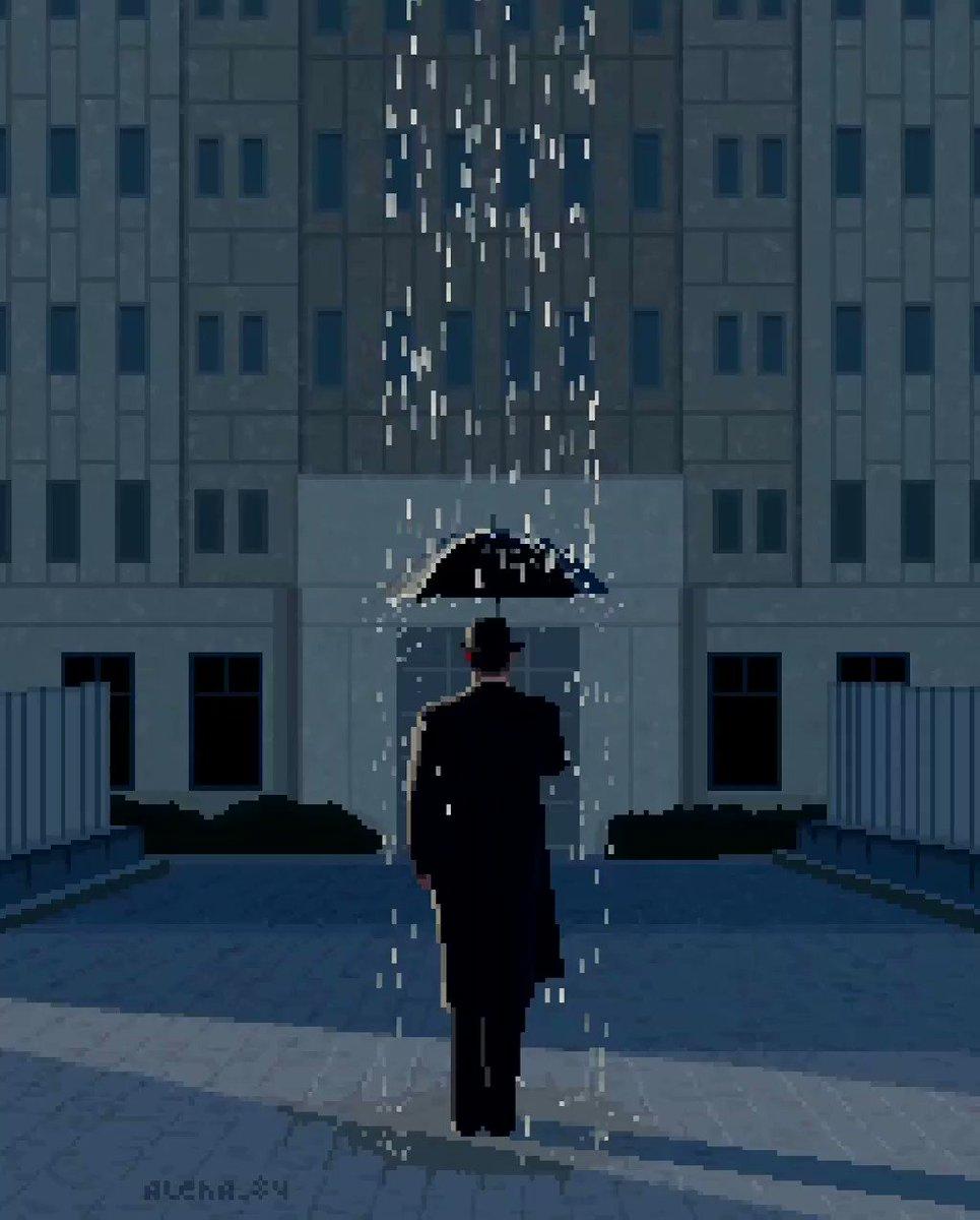 Lonely man in the rain  #pixelart #rain #man #lonely #buildings #pixel #art #пиксельарт #пиксель #8bit #16bit #oldschool #dosgames #gamedev #nostalgia #animation #umbrella #raindrops #splash #puddle #window #shower #hat #entrance #calm #gray #дождь #зонт #dos #drypic.twitter.com/9VTfdkFBXX