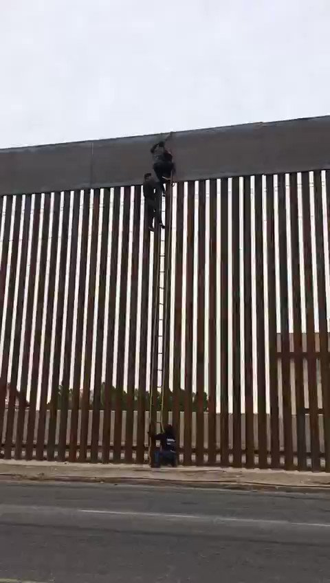 What beats a 50 ft, billion-dollar wall? A 51 ft ladder @ $16.  Smugglers have engineered camouflage hook-and-ladders made of rebar that blend in so well with the border wall that it can be hard to detect, according to U.S. Border Patrol.