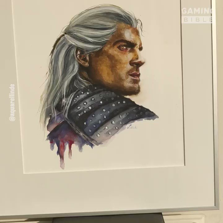 This watercolour painting of Geralt is awesome! 🎨 AQUARELLINDE Portraits