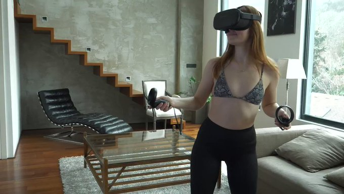 Lovely @Jia_Lissa playing #VRgames for the first time ❤️🌸 #bts #SLROriginals  #sfw #jialissa #behindthescenes