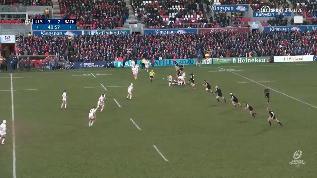 It wasn't to be for @UlsterRugbyon the weekend but hot prospect Robert Baloucoune bagged himself another try 👌 How important will the wing be for his side in the #HeinekenChampionsCup knockout phases? 👊 Any excuse to watch this belter again 😍 👇