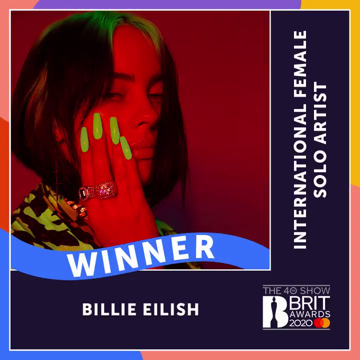 Replying to @BRITs: Let's hear it for this year's International Female, @billieeilish! Congrats 🎉 #BRITs