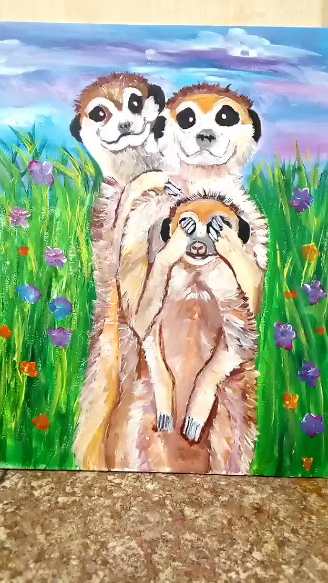 Hope this brings a smile to your face today, hope you have a good one whatever you're doing.  #Paintings #Fun #Wallart #ChildrensIllustratorpic.twitter.com/jEAOXLUO5I