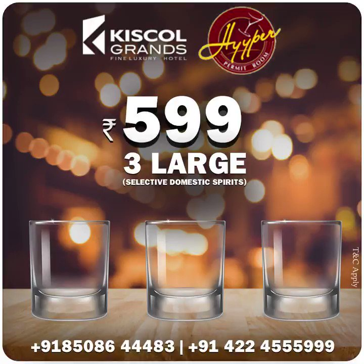 Happy hour @ Hyyper. Visit Hotel Kiscol Grands for the exciting offers on domestic spirits. For details contact: +91 85086 44483 +91 422 4555999  #kiscolgrands #hyyper #hotelsincoimbatore #beverages #food #Restaurant #besthotels #coimbatore #VisitCoimbatorepic.twitter.com/gq64xqnpK1
