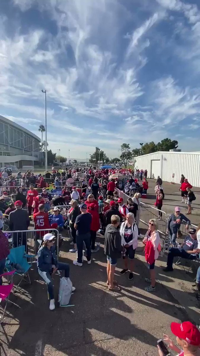 Waiting For A Trump Rally! Hours and Hours before the rally hundreds and hundred of patriots wait to get in! Did someone on the left say Trump has to cheat to win? 😂😂😂😂 Gladly Electing Trump 2020! #TrumpRallyAZ