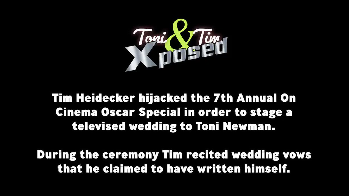 "ATTN On Cinema Family & Toni Newman: @timheidecker fooled many of you with his ""heartfelt"" wedding vows, but - like most things that he does in life - they were a sham. He has no respect for the law, Toni Newman, or MOVIES. Please spread far and wide! @greggturkington #OnCinemapic.twitter.com/DVfP0tnWwf"
