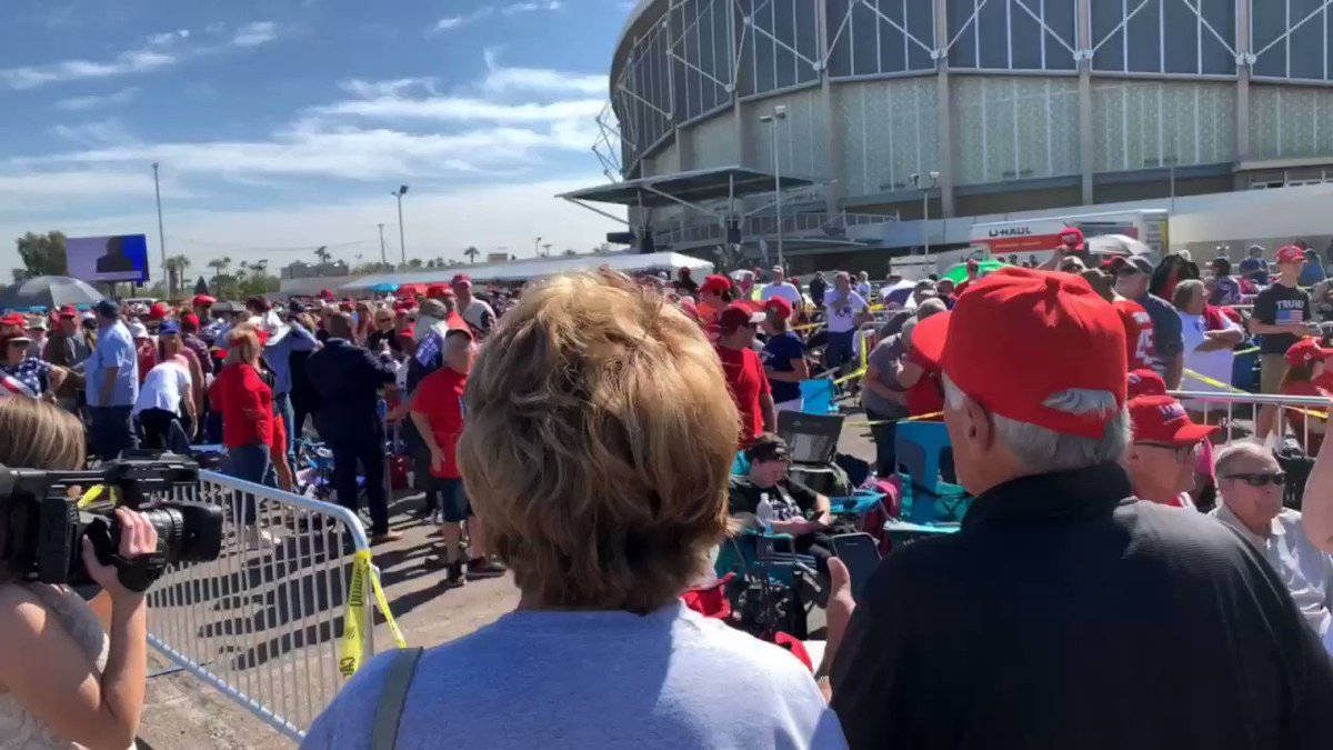 Thousands of Arizonans already lining up — SIX HOURS before the show starts — for the chance to hear President @realDonaldTrump at tonight's rally in Phoenix 🇺🇸💥🇺🇸💥   This is a MOVEMENT! 🔥 #Win2020 @TeamTrump @GOP – at Arizona Veterans Memorial Coliseum