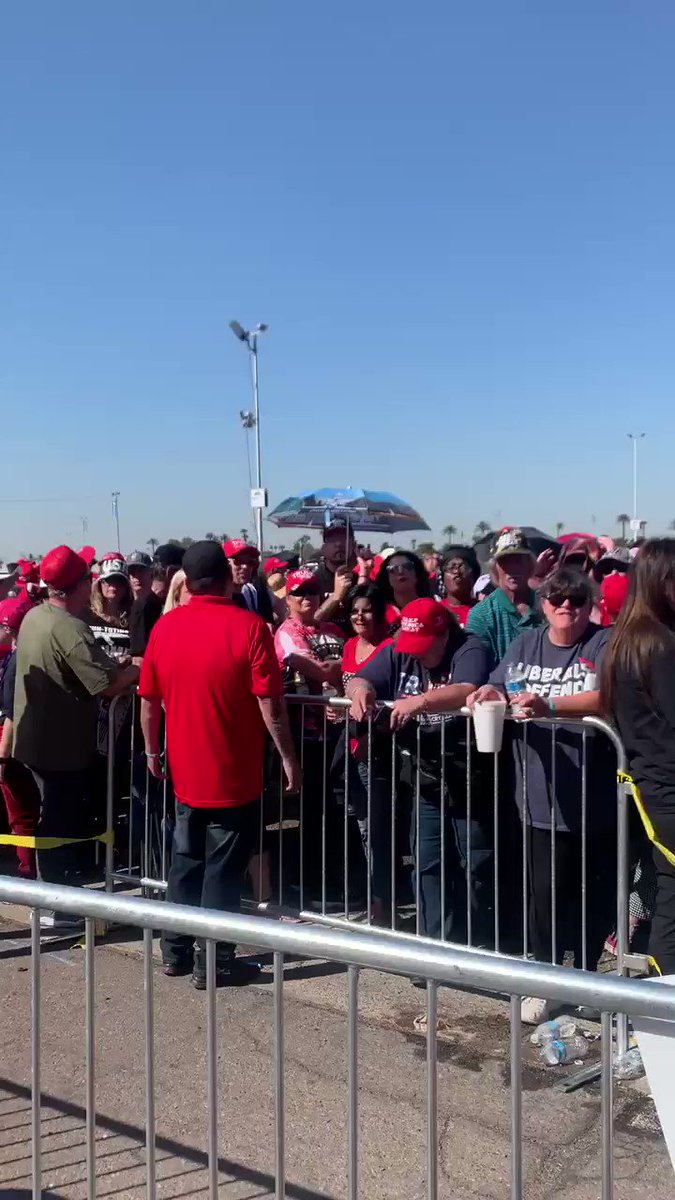 "Arizona loves Trump! A revved up crowd braving the sweltering sun and chanting ""Four more years!"" here in Phoenix as we await the 7pm start of @realDonaldTrump's rally. @OANN #OAN"
