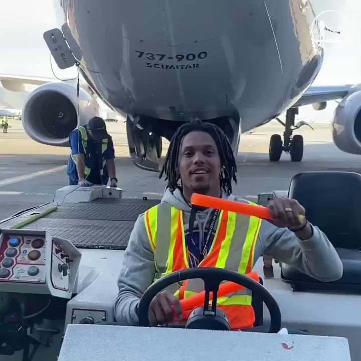 Out here with @united making it happen 😂