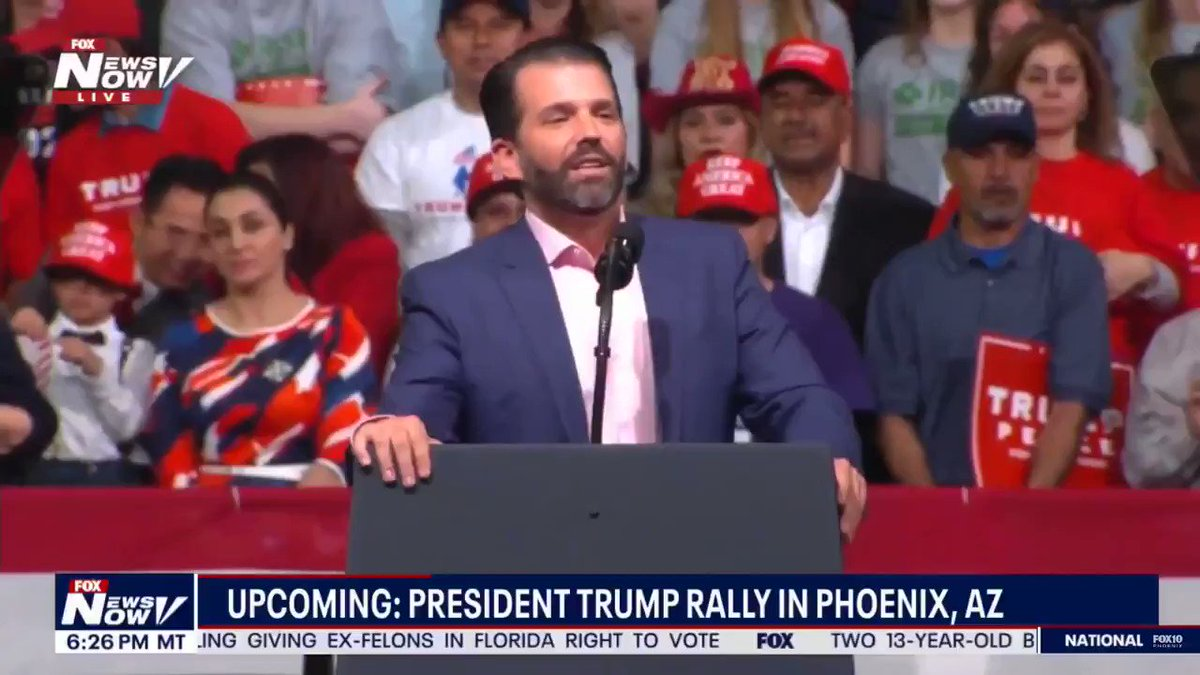 .@DonaldJTrumpJr talks about the two gentlemen that carried the World War II Veteran to his seat at the Trump Rally.  WOW 🇺🇸