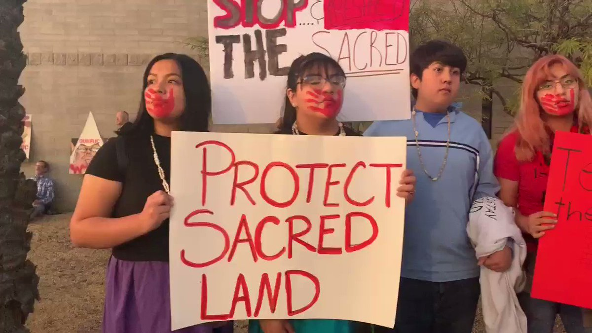 Some members of the Gila River Indian Community are protesting President Trump's rally in support of the Tohono O'odham tribe, whose sacred site was blasted to make way for Trump's border wall in southwestern Arizona. #TrumpInAZ #TrumpRallyPhoenix