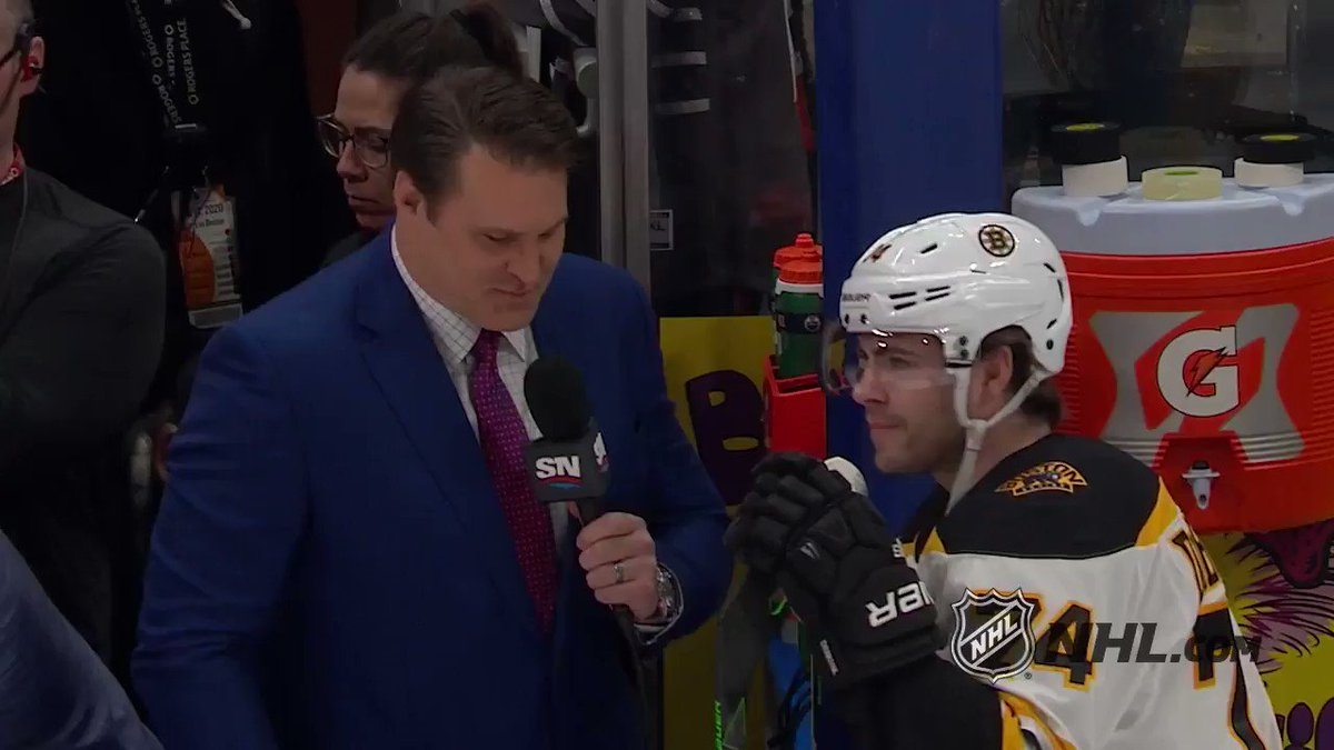 This may just be the best father/son interview out there. 💛🖤 Well done Louie and Jake DeBrusk (@JDebrusk)!
