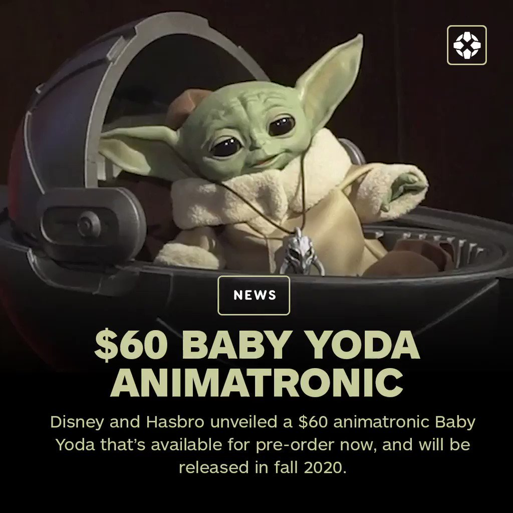 This Baby Yoda animatronic can act like it's harnessing the Force by closing its eyes, raising its arm, and sighing from exertion.