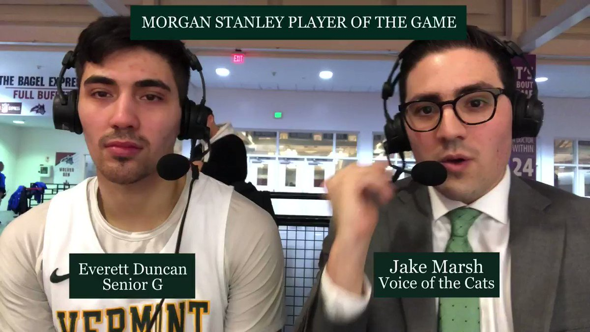 FINAL: Vermont 63, Stony Brook 54@UVMmbb's offense was searching for answers for the majority of the game...... and then @EverettDuncan34 happened. The senior is our Morgan Stanley POG with 11 pts and making his last three 3's.Magic number to win the regular season title: 1
