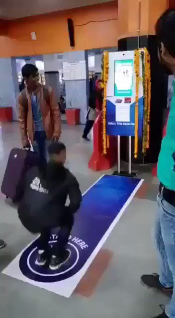 Health is Wealth! Indian Railways new initiative. Work out in front of the machine and it gives you a free platform ticket! At Anand Vihar station. New Delhi. @mid_day