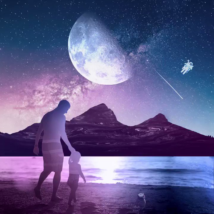 Moonlit swim under the stars.  #creativeprocess #photoshop #timelapseart #unsplash #moena #italy #atlantic #puffin #moon #moonlit #sea #astronaut #father #daughter #blue #pink