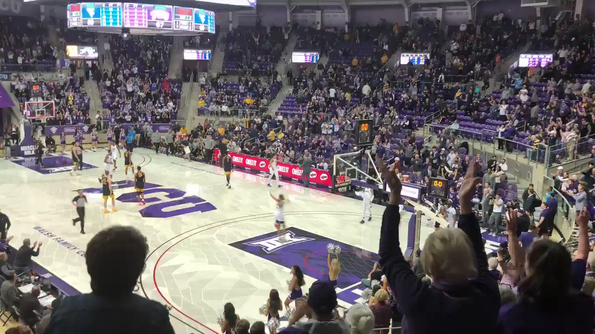 Ed & Rae Schollmaier Arena is rockin' as @TCUBasketball beats No. 17 West Virginia 67-60 in overtime!