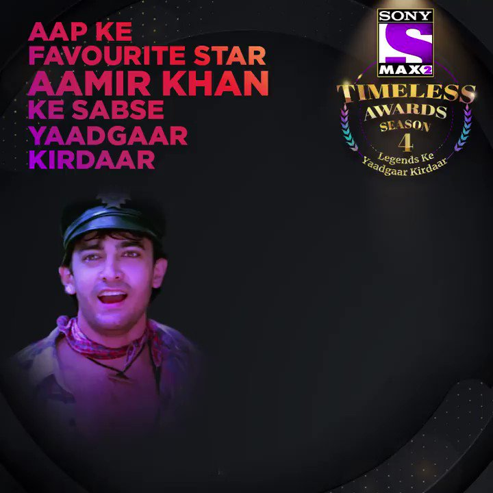 Which is yourfavouritekirdaarof Aamir Khan? Vote for the yaadgaar kirdaar of @aamir_khan by logging on to https://www.max2timelessawards.sonyliv.com Voting lines for the 1st category are open till 27th Feb. Vote & win* an iPhone 11 Pro.  #MAX2TimelessAwardsS4
