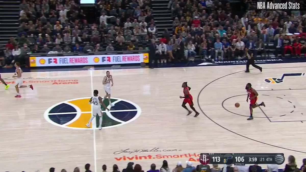 Credit to Coach D'Antoni and Coach Gunning for this ATO. Play of the game. When Westbrook in corner, Gobert has responsibility of defending him AND helping at rim. Houston clears the side and runs 1/2 action, Houston's go-to. Harden clears mid-range. No help. Smart design/counter