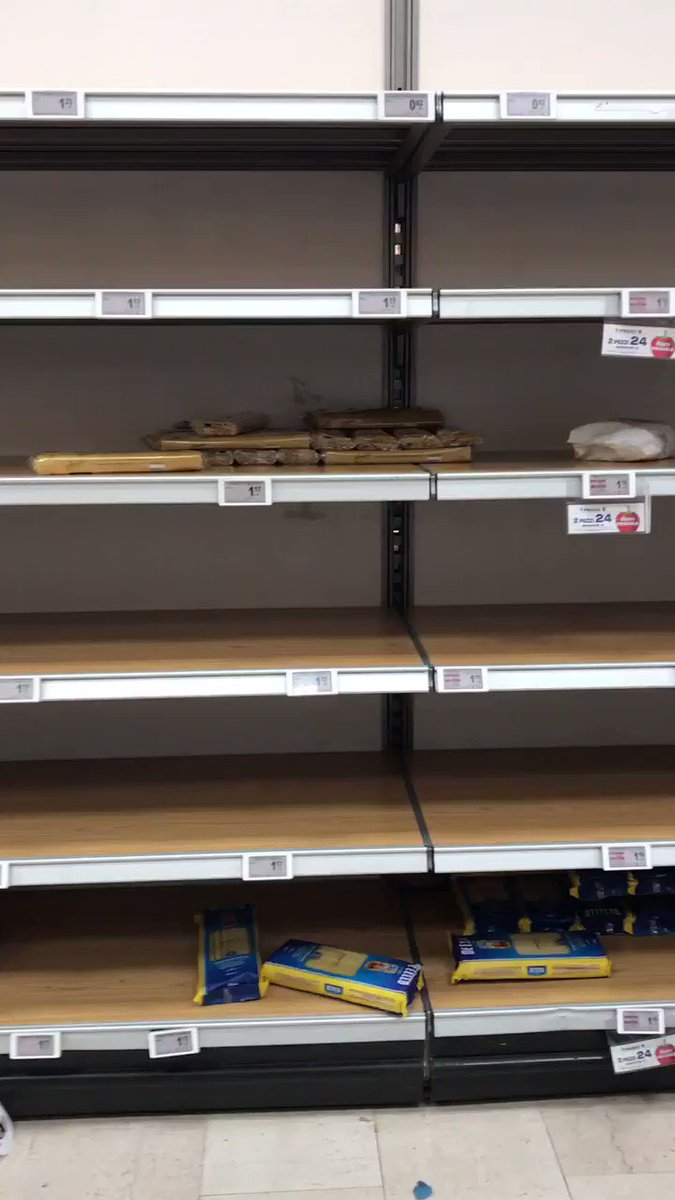 More empty shelves at the supermarket in Milan, Italy amid fears of #coronavirus spread.
