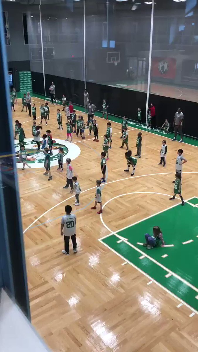 Lucas in his high top Nike's working hard at the @celtics practice center. Also donning those Larry Bird era shorts. #Throwback #Celtics #Boston #sunday